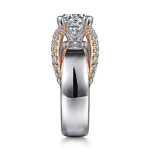 Orleans 14k White And Rose Gold Round Split Shank Engagement Ring angle 5