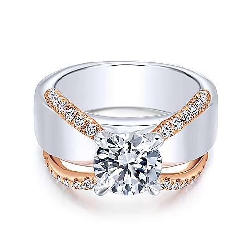 Gabriel - Orleans 18k White And Rose Gold Round Split Shank Engagement Ring