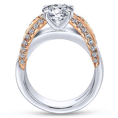 Orleans 18k White And Rose Gold Round Split Shank Engagement Ring angle 2