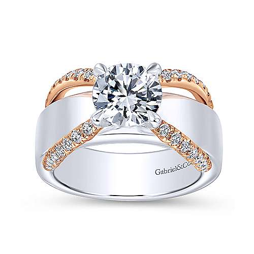 Orleans 18k White And Rose Gold Round Straight Engagement Ring angle 5