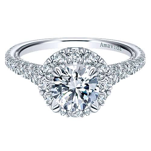 Gabriel - Orville 18k White Gold Round Halo Engagement Ring
