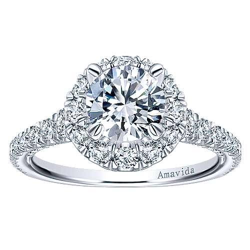 Orville 18k White Gold Round Halo Engagement Ring