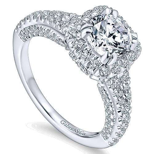 Osaka 14k White Gold Round Halo Engagement Ring