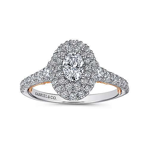 Oslo 14k White And Rose Gold Oval Double Halo Engagement Ring angle 5