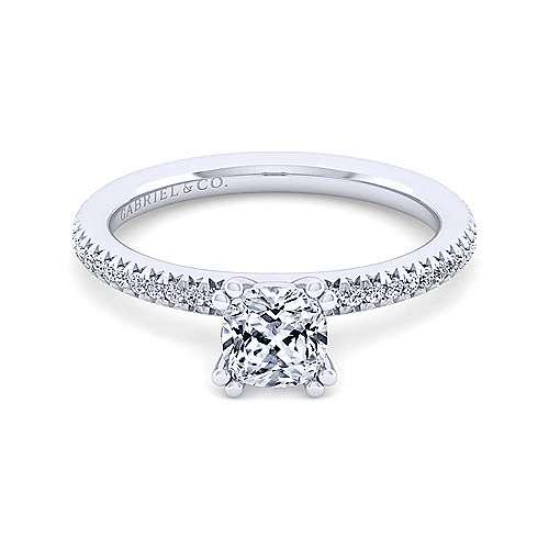 Gabriel - Oyin 14k White Gold Cushion Cut Straight Engagement Ring