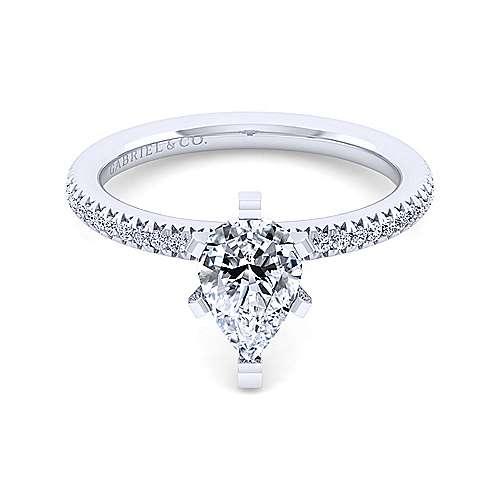 Gabriel - Oyin 14k White Gold Pear Shape Straight Engagement Ring