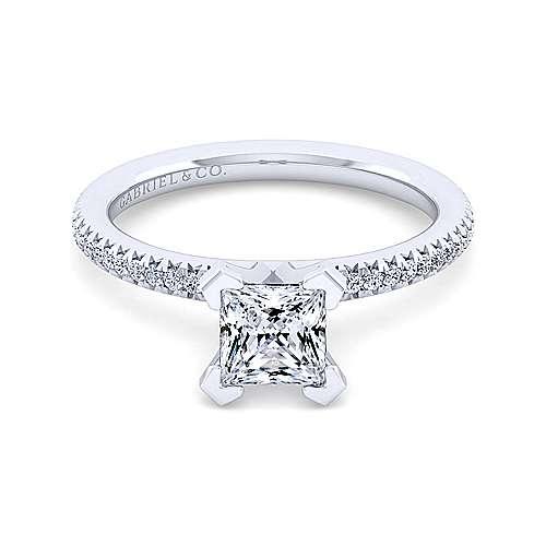 Gabriel - Oyin 14k White Gold Princess Cut Straight Engagement Ring