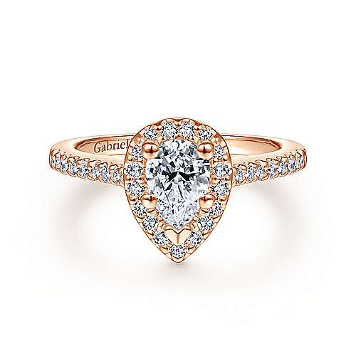 paige 14k rose gold pear shape halo engagement ring angle 1 - Rose Wedding Ring