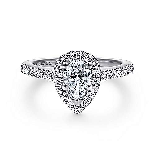 Gabriel - Paige 14k White Gold Pear Shape Halo Engagement Ring