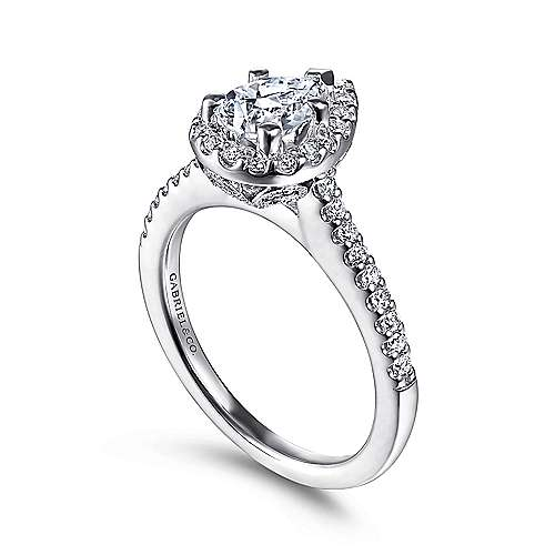Paige 14k White Gold Pear Shape Halo Engagement Ring angle 3