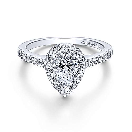 Paige 18k White Gold Pear Shape Halo Engagement Ring Angle 1