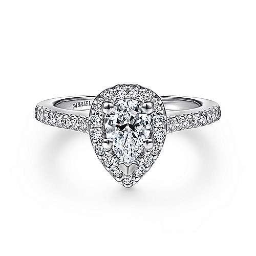 Gabriel - Paige Platinum Pear Shape Halo Engagement Ring
