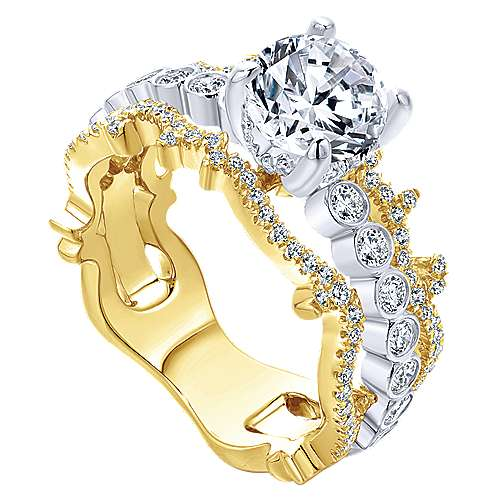 Paisley 18k Yellow And White Gold Round Wide Band Engagement Ring angle 3