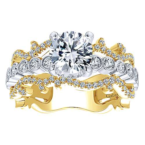 Paisley 18k Yellow And White Gold Round Wide Band Engagement Ring angle 5