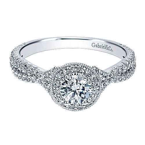 Gabriel - Palila 14k White Gold Round Halo Engagement Ring