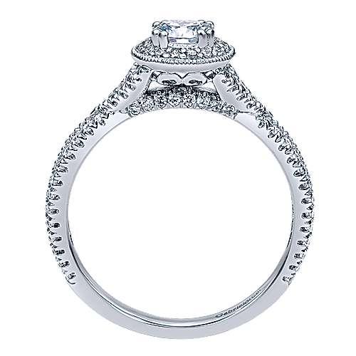 Palila 14k White Gold Round Halo Engagement Ring