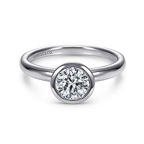 Gabriel - Palmer 14k White Gold Round Solitaire Engagement Ring