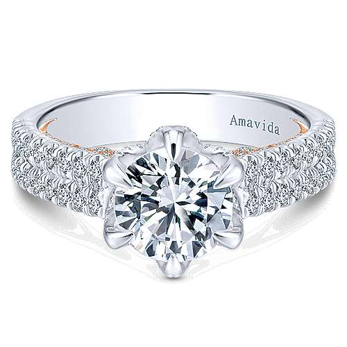 Gabriel - Paloma 18k White/pink Gold Round Straight Engagement Ring