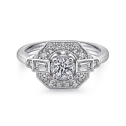 Gabriel - Paola 14k White Gold Round Halo Engagement Ring