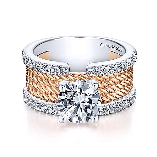 Paradise 18k White And Rose Gold Round Straight Engagement Ring angle 1