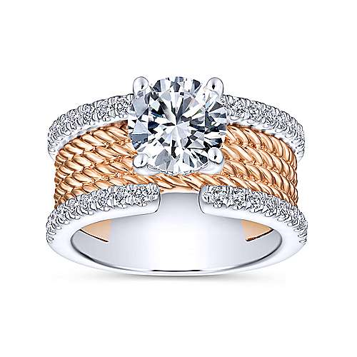 Paradise 18k White And Rose Gold Round Straight Engagement Ring angle 5