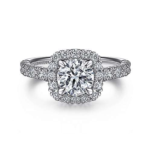 Gabriel - Parker 14k White Gold Round Halo Engagement Ring