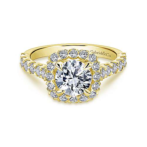 Parker 14k Yellow Gold Round Halo Engagement Ring angle 1
