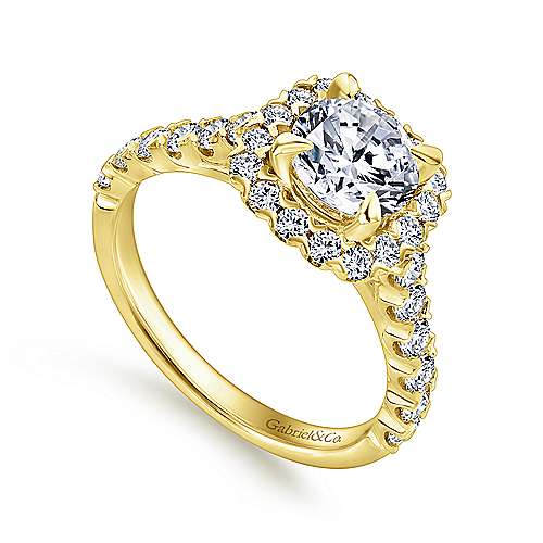 Parker 14k Yellow Gold Round Halo Engagement Ring angle 3