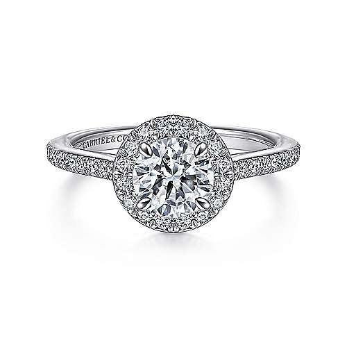 Passion 18k White Gold Round Halo Engagement Ring angle 1