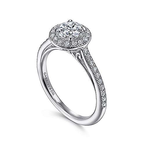Passion 18k White Gold Round Halo Engagement Ring angle 3