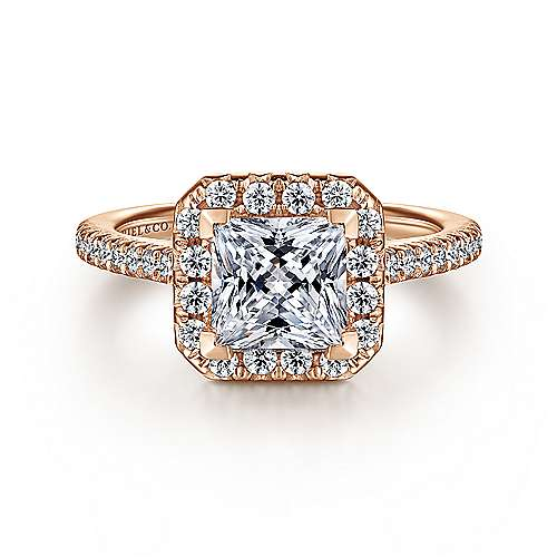 Gabriel - Patience 14k Rose Gold Princess Cut Halo Engagement Ring