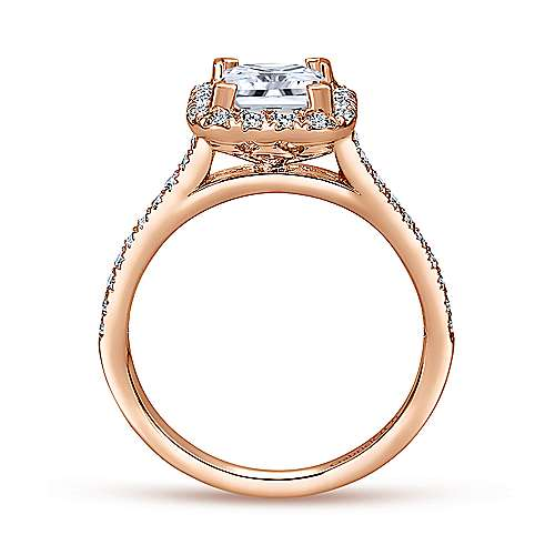 Patience 14k Rose Gold Princess Cut Halo Engagement Ring angle 2