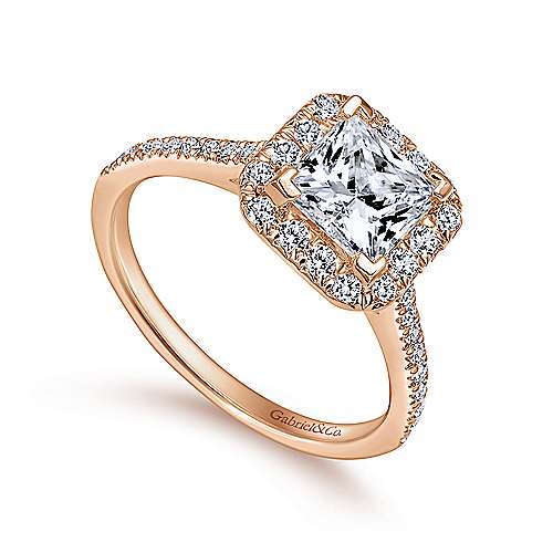 Patience 14k Rose Gold Princess Cut Halo Engagement Ring angle 3