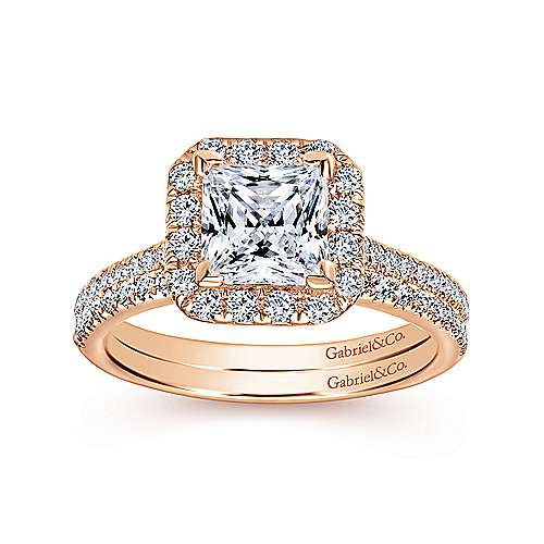 Patience 14k Rose Gold Princess Cut Halo Engagement Ring angle 4