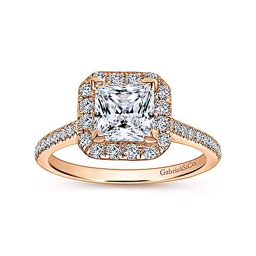 Patience 14k Rose Gold Princess Cut Halo Engagement Ring angle 5