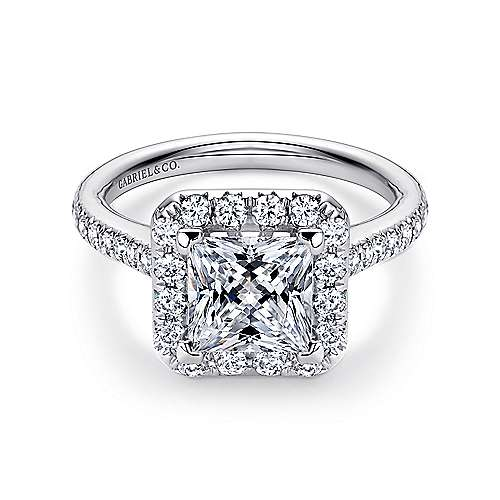 Gabriel - Patience 14k White Gold Princess Cut Halo Engagement Ring