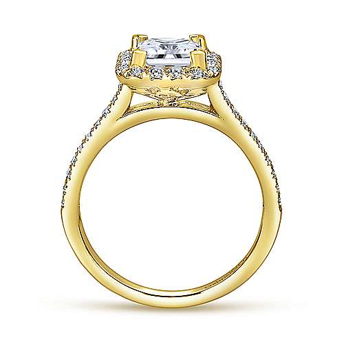 Patience 14k Yellow Gold Princess Cut Halo Engagement Ring angle 2