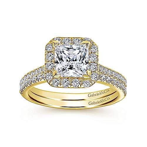 Patience 14k Yellow Gold Princess Cut Halo Engagement Ring angle 4