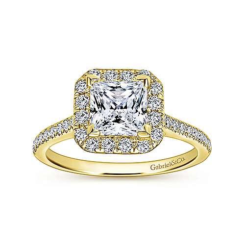 Patience 14k Yellow Gold Princess Cut Halo Engagement Ring angle 5