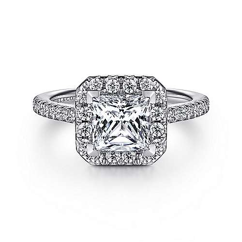 Gabriel - Patience Platinum Princess Cut Halo Engagement Ring