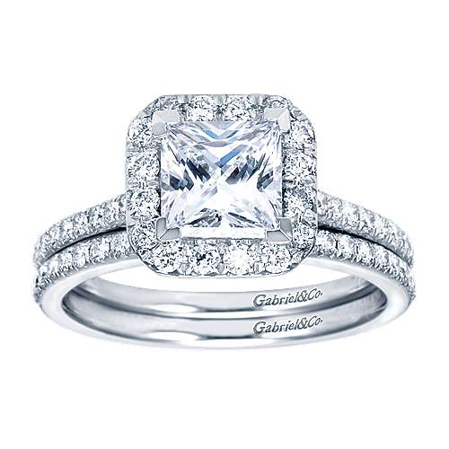 Patience Platinum Princess Cut Halo Engagement Ring angle 4