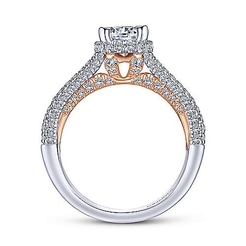 Patricia 14k White And Rose Gold Round Split Shank Engagement Ring angle 2