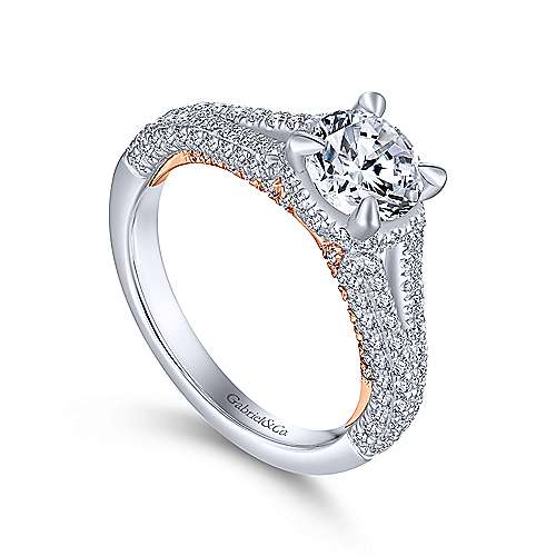 Patricia 14k White And Rose Gold Round Split Shank Engagement Ring angle 3