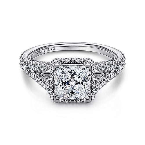 Gabriel - Paula 18k White Gold Princess Cut Halo Engagement Ring