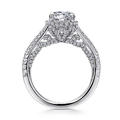Paula 18k White Gold Round Halo Engagement Ring angle 2