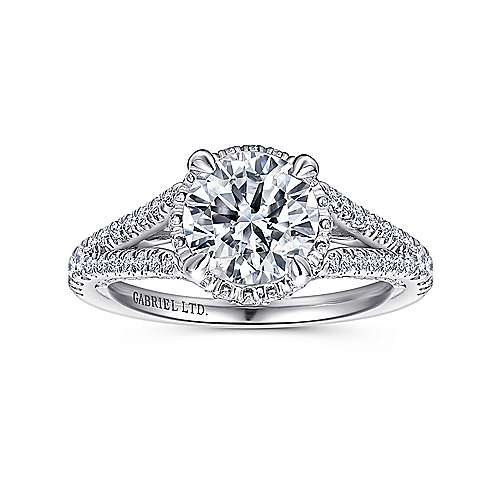 Paula 18k White Gold Round Halo Engagement Ring angle 5