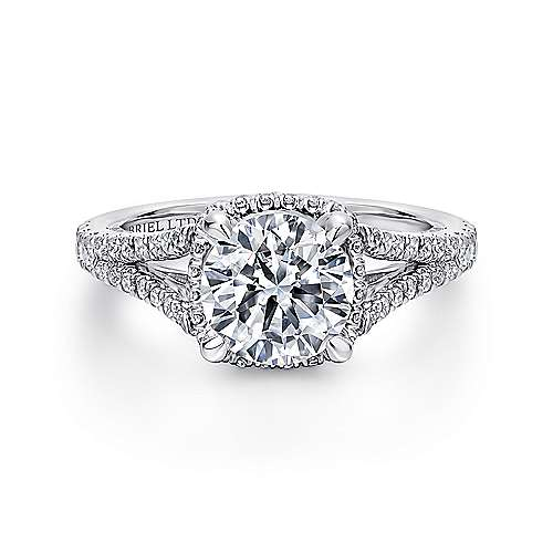 Gabriel - Paula 18k White Gold Round Halo Engagement Ring