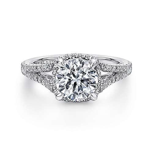 Paula 18k White Gold Round Halo Engagement Ring