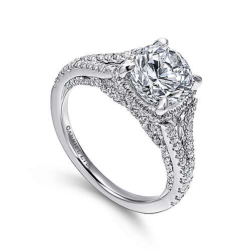 Paula 18k White Gold Round Halo Engagement Ring angle 3