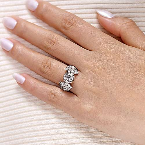 Pauline 18k White Gold Round Straight Engagement Ring angle 6